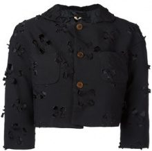 Comme Des Garçons Comme Des Garçons - cut-out detail cropped jacket - women - Polyester - S - BLACK