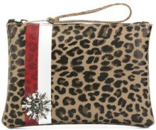 Gum - leopard and stripe print clutch bag - women - Leather - OS - MULTICOLOUR