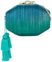 Rafe - interwoven clutch bag - women - Straw/Snake Skin - OS - GREEN