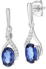 Naava Donna 9 carati oro bianco Rotonda blu Tanzanite Diamante