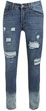 Jeans taglio aderenti strappati con fondo effetto consumato