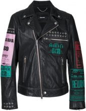 Diesel - multi-patches biker jacket - men - Sheep Skin/Shearling/Cotone - L - Nero