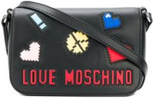 Love Moschino - logo patch mini bag - women - Leather - OS - BLACK