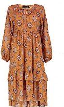 Bree abito grembiule con stampa stile bohemienne e volant al fondo