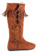 Stivali mocassino con lacci laterali