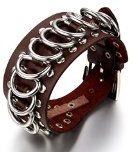 JewelryWe Gioielli bracciale da uomo donna Punk Rock stile 35mm nero pelle Braccialetto con fibbia della cintura 10 pollici (con regalo borsa)