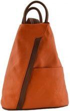 Zaini Dream Leather Bags Made In Italy  Zaino In Pelle Colore Arancio Marrone - Pelletteria Toscana Made