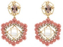 Dannijo - Orecchini 'Clock' - women - Brass/Crystal/Resin/Pearls - OS - PINK & PURPLE