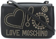 Love Moschino - studded logo crossbody bag - women - Leather - OS - BLACK