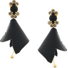 Marni - embellished flower earrings - women - Calf Leather/Brass/Crystal - OS - BLACK