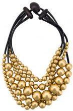 Monies - Collana ocn perline oversize - women - Wood/Leather - S - BLACK