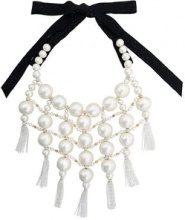 Moy Paris - Maxi collana con perle e nappe - women - Pearls/Cotton - OS - BLACK