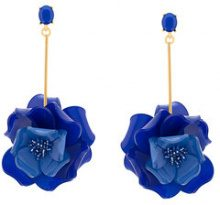 Oscar de la Renta - Petunia long earrings - women - Plastic/Brass/glass - OS - BLUE