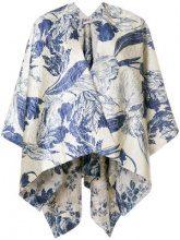 Ermanno Gallamini - oversized cape jacket - women - Cotton/Polyester/Acrylic/Linen/Flax - One Size - BLUE