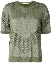 Golden Goose Deluxe Brand - T-shirt con stile traforato - women - Cotton/Polyamide/Viscose/metal - S - GREEN