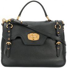 Miu Miu - buckle detail foldover satchel bag - women - Calf Leather - One Size - BLACK