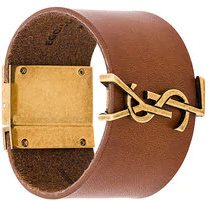 Saint Laurent - Bracciale rigido 'Monogram' - women - Leather - M, L, S - BROWN
