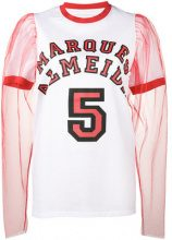 Marques'almeida - Track T-shirt with Puff Tulle Sleeves - women - Cotton/Polyamide - S - WHITE