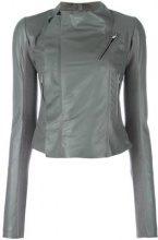 Rick Owens - cropped biker jacket - women - Leather/Cupro/Virgin Wool - 42 - GREY