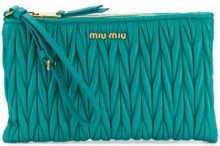 Miu Miu - Pochette con logo - women - Leather - OS - GREEN