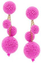 Oscar de la Renta - triple beaded ball earrings - women - Cotton/Plastic/Brass/glass - OS - PINK & PURPLE