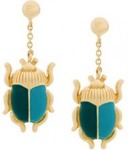 Aurelie Bidermann - Orecchini 'Elvira' - women - Gold Plated Brass/Enamel - OS - GREEN