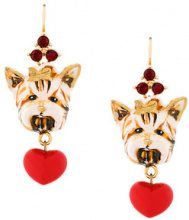 Dolce & Gabbana - Orecchini 'Dog' con ciondolo - women - Crystal/Resin/Brass - OS - NUDE & NEUTRALS