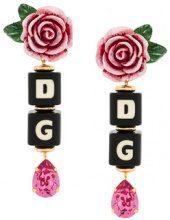 Dolce & Gabbana - Orecchini pendenti con rosa e dadi - women - Resin/Crystal/Brass - OS - BLACK