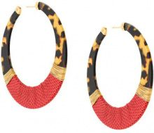 Gas Bijoux - Lodge hoop earrings - women - 24kt Gold Plate/Acetate/Leather - OS - RED