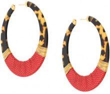 Gas Bijoux - Lodge hoop earrings - women - 24kt Gold Plate/Acetate/Leather - OS - Rosso