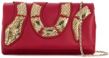 Red Valentino - Clutch con applicazioni - women - Leather - OS - RED