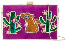 Gedebe - cactus and monkey patch clutch - women - metal/Leather - OS - PINK & PURPLE