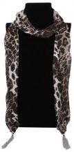Sciarpa leggera leopardata con nappine
