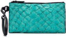 Osklen - leather clutch - women - Pirarucu Skin - OS - BLUE