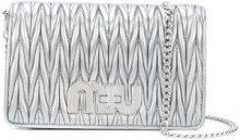 Miu Miu - Borsa trapuntata con logo Miu - women - Cotton/Nappa Leather - One Size - METALLIC