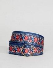 ASOS - Cintura da jeans in tessuto a fiori con fibbia ad anello - Multicolore