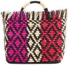 Sensi Studio - oval frayed tote bag - women - Straw - OS - MULTICOLOUR