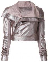 Rick Owens - Giacca crop - women - Calf Leather/Wool/Viscose/Cupro - 42 - PINK & PURPLE