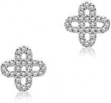 Miore Orecchini Donna   Piccoli a  Lobo  Diamanti taglio Brillante ct 0.09   Oro Bianco 9 Kt / 375