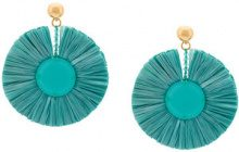 Oscar de la Renta - multi tiered tassel earrings - women - Silk/Nylon/Viscose/glass - OS - GREEN