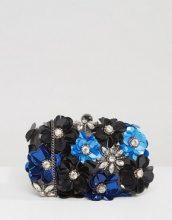 Park Lane - Pochette strutturata decorata a fiori realizzata a mano - Nero