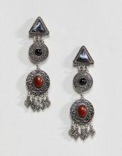 ASOS DESIGN - Orecchini pendenti bruniti con varie forme e pietre - Argento