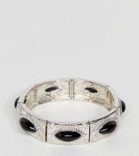 Esclusiva ASOS CURVE - bracciale elasticizzato con pietra e incisioni - Argento