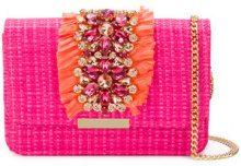 Emanuela Caruso - floral embellished bag - women - Raffia/glass/metal - OS - PINK & PURPLE