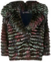 Simonetta Ravizza - Giacca di pelliccia con revers ampio - women - Fox Fur/Polyamide/Viscose/Wool - 42 - MULTICOLOUR