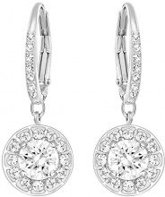 Swarovski 5142721 - Orecchini pendenti da donna, platinati, con cristalli trasparenti, taglio rotondo