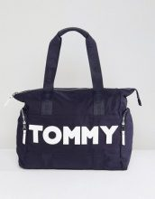 Tommy Hilfiger - Borsa shopping in nylon con logo - Navy