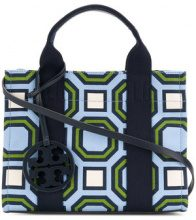 Tory Burch - printed mini Tory tote - women - Cotton - OS - BLUE