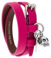 Alexander McQueen - Bracciale a doppio giro - women - Calf Leather/Brass - OS - PINK & PURPLE
