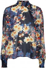 Y.A.S Floral Smock Long Sleeved Top Women Blue